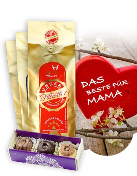 Zum Muttertag 3x1000g Kaffee + gratis Pralinen
