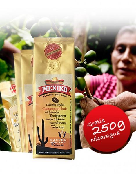 3x1000g Kaffee Mexiko + gratis 250g Nicaragua