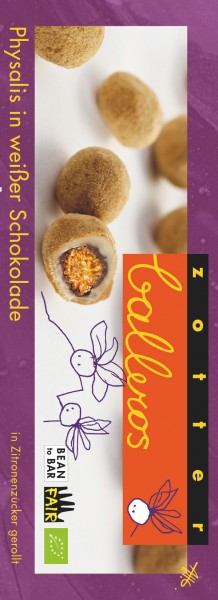 Zotter Schokolade Balleros - Physalis im weißen Kleid