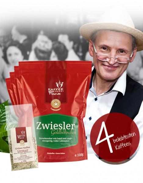 4 x 500g beliebtesten Kaffees + GRATIS Grüner Kaffee