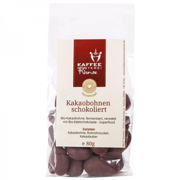 Kakaobohnen schokoliert, Bio Qualität